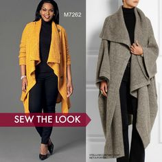 Sewing Blankets Sew the Look: McCall's blanket coat sewing pattern by Khaliah Ali. Perfect for sweater knits. Poncho Pattern Sewing, Sewing Paterns, Mccalls Sewing Patterns, Sewing Coat, Sewing Clothes, Coat Patterns, Clothing Patterns, Blanket Coat, Make Your Own Clothes