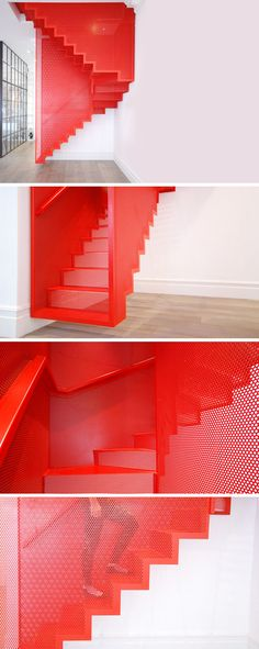 /Perforated Steel Suspended Staircase by Diapo, Inspired from installation by Do Ho Suh at the Tate Modern Gallery