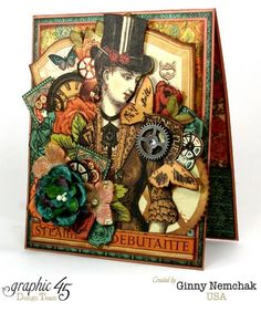 Clearsnap Graphic 45 Decades Ink Steampunk Debutante card by Ginny #graphic45
