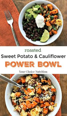 Roasted Sweet Potato & Cauliflower Power Bowl - Your Choice Nutrition Roasted Sweet Potato & Cauliflower Power Bowl with black beans and quinoa. A bowl full of plant protein, fiber, and plenty of flavor! Veggie Recipes, Whole Food Recipes, Vegetarian Recipes, Healthy Recipes, Vegan Sweet Potato Recipes, Sweet Potato Stir Fry, Sweet Potato Pasta, Superfood Recipes, Chickpea Recipes