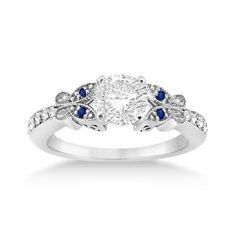 Butterfly Diamond & Sapphire Engagement Ring 14k White by Allurez