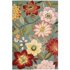 Nourison Spring Blossom Aqua 3 ft. 6 in. x 5 ft. 6 in. Area Rug - 104427 - The Home Depot
