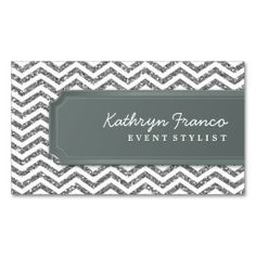 BUSINESS CARD chevron stripe silver glitter look. This is a fully customizable business card and available on several paper types for your needs. You can upload your own image or use the image as is. Just click this template to get started!