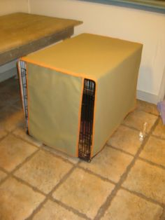"""Custom-made Dog crate cover: Beautify your best friend's """"bedroom"""", without spending a bundle! Learn how, with this fast and easy DIY sewing tutorial; written and posted by Sara Walker, of """"A Walk Through""""."""