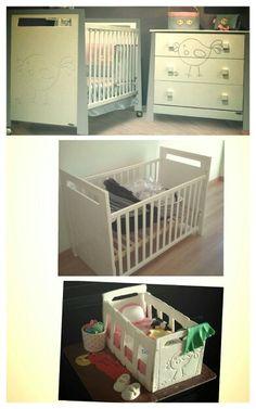 Berço da bebé e bolo baby shower igual