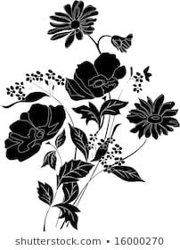 Find Illustration Beautiful Black Flower Bouquet stock images in HD and millions of other royalty-free stock photos, illustrations and vectors in the Shutterstock collection. Thousands of new, high-quality pictures added every day. Fabric Paint Designs, Stencil Patterns, Flower Designs, Design Elements, Vectors, Stencils, Royalty Free Stock Photos, Bouquet, Illustration