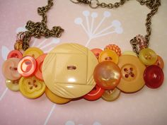 Button Necklace -  Vintage button Jewelry -  Yellow- Peach - Orange -  SUNLIGHT. $33.00, via Etsy.