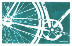 Teal Bike Art Print...draw a bike with white on this color of teal.