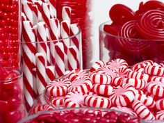An exquisite collection of red confections makes this candy buffet unique and delicious!