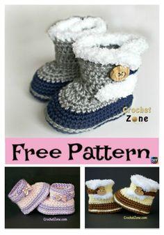 Crochet Fuzzy Booties – Free Pattern – Baby For look here Crochet Baby Boots, Booties Crochet, Crochet Baby Clothes, Crochet Slippers, Baby Bootie Crochet Pattern, Crochet Baby Stuff, Crochet Simple, Crochet For Kids, Crochet Girls