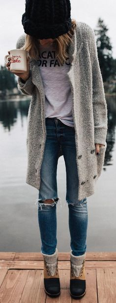 #winter #fashion / Grey Maxi Cardigan / Black Beanie / Destroyed Skinny Jeans / Snow Boots