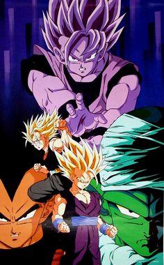 Vegeta, Goku, Piccolo, Gohan, and Trunks