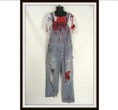 Bloody Zombie Farmer vintage Overalls & White T Shirt Custom Made Halloween Costume 34 x 31 S by wardrobetheglobe, $110.00