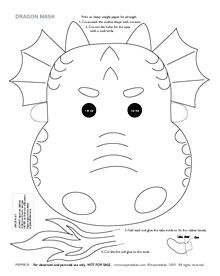 Dragon mask for coloring. Also includes 5 different colored printable dragon masks (blue, red, black, green, and pink). Great for Chinese New Year.