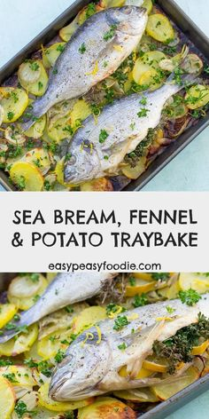 This Sea Bream, Fennel and Potato Traybake is such a simple recipe, but looks and tastes like you've slaved over the stove for hours (when you really haven't). Perfect for stress-free entertaining! Entree Recipes, Fish Recipes, Easy Dinner Recipes, Sea Bream Recipes, Seafood Recipes, Easy Meals, Healthy Recipes, Vegetable Recipes, Midweek Meals