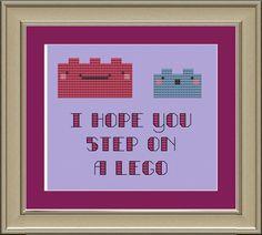 I hope you step on a Lego: cute cross-stitch pattern. $3.00, via Etsy.