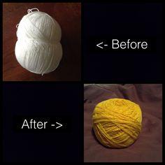 Dying acrylic yarn.