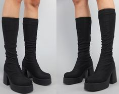 Vtg 90s Black Fabric Minimal Platform Chunky Boots by theindustry