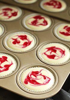 The Galley Gourmet: Mini Raspberry Swirl Cheesecakes