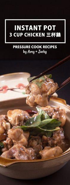 Classic Taiwanese Instant Pot Three Cup Chicken Recipe (San Bei Ji) 三杯鷄: tender chicken in fragrant, savory-spiced, slightly sweet secret sauce. via @pressurecookrec