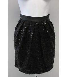 WALTER Black Sequin Pleated Above Knee Length Straight Skirt Sz 0 $39