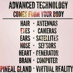 An awesome Virtual Reality pic! Your body isn't just a sack of meat and bones. It's a vessel that allows you to interpret sensory data from your environment. The brain has a complex operating system that is constantly updated with new information. Our body collects data using our 5(6) senses and our brain converts it into information we can understand with our conscious mind and use to navigate through our existence. #advancedtechnology #body #human #vessel #humanbody #hair #eyes #ears…