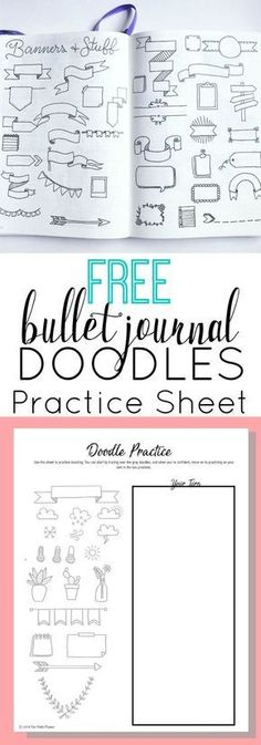 Free Bullet Journal Doodles Printable Practice Sheet What's more fun than doodling in your bullet journal? If you're anything like me, you will love this practice sheet and find a good use for the doodles included. Bullet Journal Police, Bullet Journal Spread, My Journal, Bullet Journal Inspiration, Bullet Journal Banner, Study Journal, Planner Journal, Bullet Journal Printables, Bullet Journal Doodles Ideas