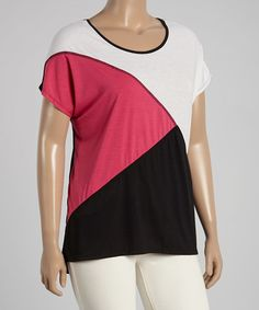 Love this Fuchsia Color Block Tee - Plus by Allie & Rob on #zulily! #zulilyfinds