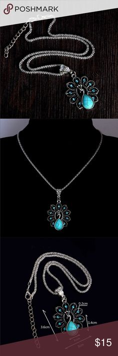 Peacock Necklace Pretty silver toned peacock necklace. This has pretty turquoise colored stones. Chain is about 18 inches plus and additional 2 inch extender. New in package. Beautiful necklace! Jewelry Necklaces