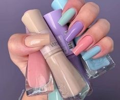 nail trends for 2020 are already out and about! There are many options for you to bet and we could give many tips here. Probably you& probably seen the multicolored nails, also called skittles nails. Check out our tips and inspirations! Cute Nails, Pretty Nails, My Nails, Grow Nails, Glitter Nails, Summer Acrylic Nails, Best Acrylic Nails, Summer Nails, Pastel Nails