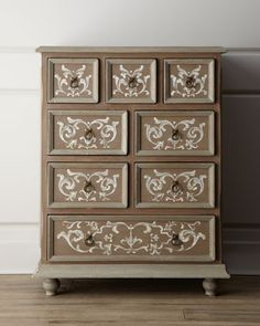 """""""Gwendolyn"""" Chest at Horchow. DIY: buy antique chest of drawers and stencil the design on yourself."""