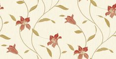 Loretta Trail Red (33740) - Albany Wallpapers - A pretty Loretta floral trail on a heavy duty Italian vinyl, showing in Red and gold. Other colour ways available. Please request a sample for true colour match.