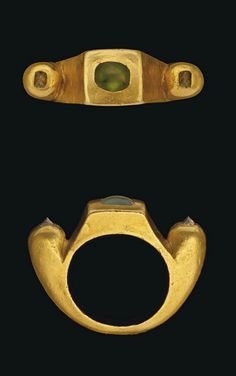 A ROMAN GOLD, GREEN CHALCEDONY AND DIAMOND RING   CIRCA 3RD-4TH CENTURY A.D.   The solid gold hoop angled at the shoulders, with a square bezel set with cabochon green chalcedony, each shoulder with domed terminal each set with an uncut diamond  1 in. (2.5 cm.) wide