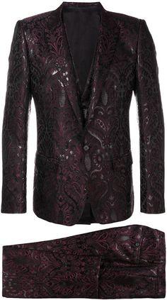 Dolce & Gabbana jacquard three piece suit Indian Men Fashion, Mens Fashion Suits, Men's Fashion, Mens Tailored Suits, Mens Suits, Suit Men, Designer Tuxedo, Style Costume Homme, Mode Costume