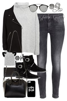 """""""Outfit with boots and grey jeans in winter"""" by ferned ❤ liked on Polyvore featuring Casetify, H&M, Annette Görtz, Comme des Garçons, Christian Dior, AllSaints, Givenchy, Eugenia Kim, Simply Vera and Pieces"""