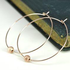 Rose Gold Hoop Earrings with Sparkly by KristinNoelDesigns on Etsy, $30.00