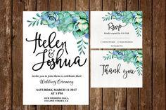 Succulent wedding invitation Floral Wedding Invitation