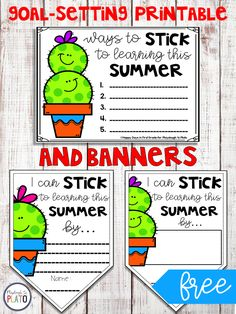 Summer Goals Writing Activity and Banners- Happy Days in First Grade for Playdough To Plato Brainstorming Activities, Kindergarten Writing Activities, Kindergarten Centers, Literacy Centers, Learning Goals, Early Learning, Playdough To Plato, First Grade, Second Grade