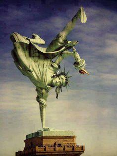Lady Liberty busts one...