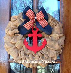 Burlap wreath Summer wreath Nautical wreath Beach by WreathChick Coastal Wreath, Nautical Wreath, Patriotic Wreath, Coastal Decor, Lake Decor, Nautical Theme, Burlap Crafts, Wreath Crafts, Diy Wreath