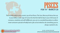#PISCES #MonthlyHoroscope Overview: You'll feel a lot more comfortable expressing your feelings this month and especially to the other water signs - Cancers and Scorpios and fellow Pisces. This could even be an emotional month for you in many ways - with so much happening in your self-fulfillment zone, it might be difficult to pinpoint exactly what it is you are hoping to find or even looking for.