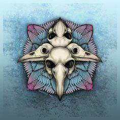 Bird Skull Mandala, Dark Gothic Horror Art by Sherrie Thai of Shaireproductions.com  Art Print available on Etsy:  https://www.etsy.com/listing/490141135/bird-skulls-mandala-gothic-horror?ref=shop_home_active_2