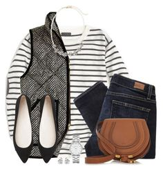 """""""Striped top, herringbone vest & pointed flats"""" by steffiestaffie ❤ liked on Polyvore featuring J.Crew, Paige Denim, Sole Society, Chloé, Witchery, Marc by Marc Jacobs and Georgini"""