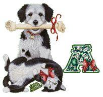 Alfabeto navideño tintineante con perrito y gatito.