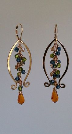 Lyre Lyre Earrings 14K gold Fill and Swarovski
