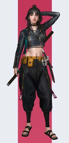 New Concept Art Girl Shadowrun Ideas Female Character Design, Character Design References, Character Design Inspiration, Character Concept, Character Art, Concept Art, Female Samurai, Samurai Art, Cyberpunk Fashion
