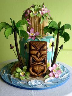 Gorgeous Luau Tiki Themed Hawaiian/Polynesian Tiered Cake that we can modify for Sweet 16 Luau Cakes, Beach Cakes, Tiki Wedding, Green Wedding, Wedding Cake, Tropical, Hawaii Cake, Flamingo, Custom Birthday Cakes