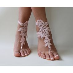 Beach Wedding,Barefoot Sandals,Pink Lace Bridal Anklet,Wedding... ($25) ❤ liked on Polyvore featuring shoes, sandals, pink wedding shoes, bridal shoes, evening shoes, lace bridal shoes and beach sandals