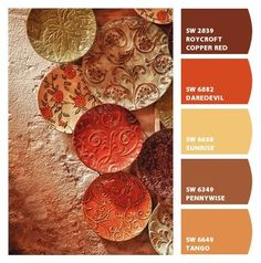 Paint colors from Chip It! by Sherwin-Williams Teal is great but red ish colors make ppl hungry, maybe terra cotta?: