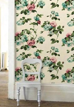 this would be so great in a small place--like an entry wall or one wall of a guest bathroom.  a little would go a long way.  cath kidston suffolk rose wallpaper
